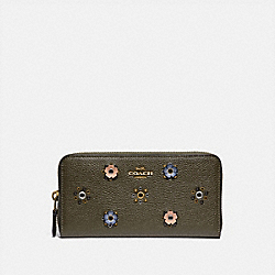 COACH 69831 Accordion Zip Wallet With Scattered Rivets BRASS/MOSS