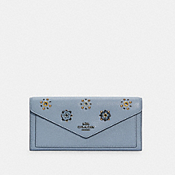 SOFT WALLET WITH SCATTERED RIVETS - 69841 - V5/MIST