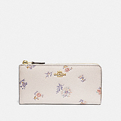 COACH 69852 - L-ZIP WALLET WITH MEADOW PRAIRIE PRINT GD/CHALK