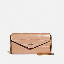 COACH 69854 - ENVELOPE CHAIN WALLET GOLD/BEECHWOOD