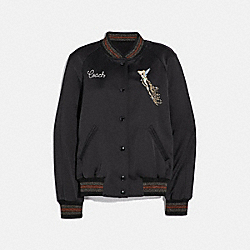 DISNEY X COACH REVERSIBLE VARSITY JACKET - 69885 - BLACK