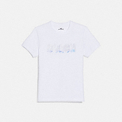 COACH 69931 - EMBROIDERED SHRUNKEN T-SHIRT OPTIC WHITE