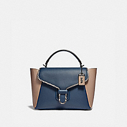COACH 701 Courier Carryall In Colorblock Leather With Snakeskin Detail V5/DARK DENIM MULTI