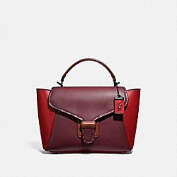 COURIER CARRYALL IN COLORBLOCK LEATHER WITH SNAKESKIN DETAIL - 701 - V5/RED APPLE MULTI