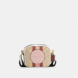COACH 7057 Mini Dempsey Camera Bag In Signature Jacquard With Stripe And Coach Patch IM/LT KHAKI /POWDER PINK MULTI