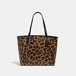 CITY TOTE WITH LEOPARD PRINT - 7131 - IM/LIGHT SADDLE BLACK