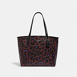 CITY TOTE WITH LEOPARD PRINT - 7131 - SV/VINTAGE MAUVE MULTI
