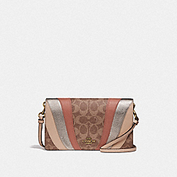 COACH 71565 - HAYDEN FOLDOVER CROSSBODY CLUTCH IN SIGNATURE CANVAS WITH WAVE PATCHWORK TAN MULTI/BRASS