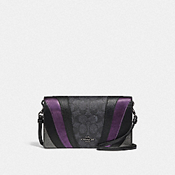 COACH 71565 Hayden Foldover Crossbody Clutch In Signature Canvas With Wave Patchwork CHARCOAL/MULTI/PEWTER
