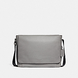 COACH 72060 Metropolitan Courier BLACK ANTIQUE NICKEL/HEATHER GREY