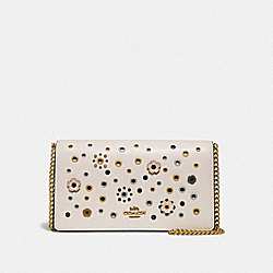 COACH 72397 Callie Foldover Chain Clutch With Scattered Rivets BRASS/CHALK MULTI