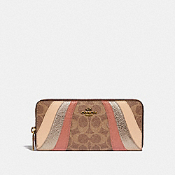 COACH 72416 Slim Accordion Zip Wallet In Signature Canvas With Wave Patchwork B4/TAN MULTI