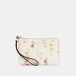 COACH 7249 Corner Zip Wristlet With Spaced Wildflower Print IM/CHALK MULTI
