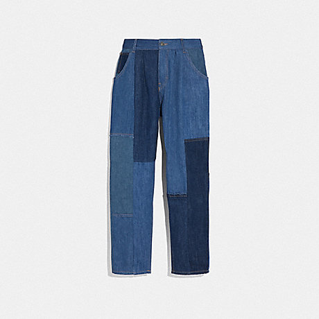 COACH 72566 DENIM PATCHWORK PLEATED TROUSERS BLUE
