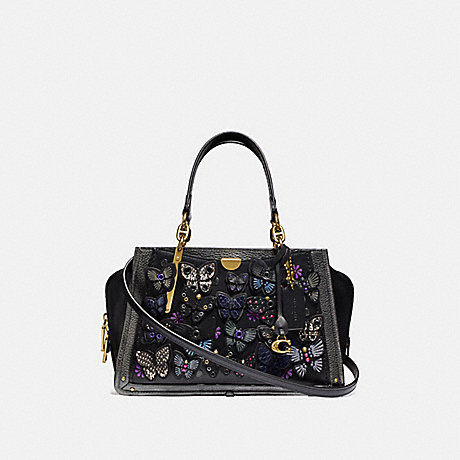 COACH 72614 DREAMER WITH BUTTERFLY APPLIQUE AND SNAKESKIN DETAIL BLACK-MULTI/BRASS