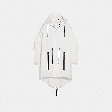 COACH 72792 MILITARY COAT WITH HOOD WHITE