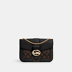 GEORGIE CROSSBODY IN SIGNATURE CANVAS - 7287 - IM/BROWN BLACK