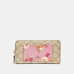COACH 73011 Accordion Zip Wallet In Signature Canvas With Painted Peony Print Pocket SV/CARNATION MULTI/LIGHT KHAKI