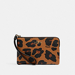 COACH 7303 Corner Zip Wristlet With Leopard Print IM/LIGHT SADDLE