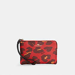 CORNER ZIP WRISTLET WITH LEOPARD PRINT - IM/BRIGHT POPPY - COACH 7303