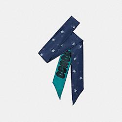 SIGNATURE MAGIC STAR PRINT SILK SKINNY SCARF - NAVY - COACH 73189