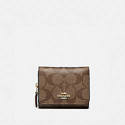 COACH 7331 - SMALL TRIFOLD WALLET IN SIGNATURE CANVAS IM/KHAKI SADDLE 2
