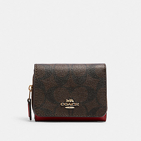 COACH 7331 SMALL TRIFOLD WALLET IN SIGNATURE CANVAS IM/BROWN 1941 RED