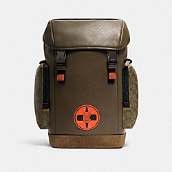 COACH X MICHAEL B. JORDAN RANGER BACKPACK WITH SIGNATURE CANVAS DETAIL - 7362 - QB/NINJA GREEN