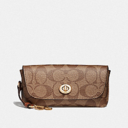 SUNGLASS CASE IN SIGNATURE CANVAS - GD/KHAKI - COACH 73639