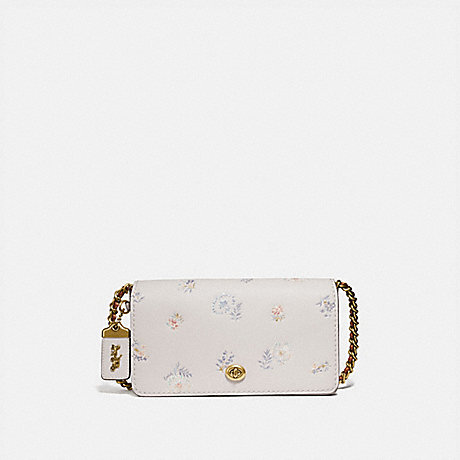 COACH 73726 DINKY WITH MEADOW PRAIRIE PRINT BRASS/CHALK