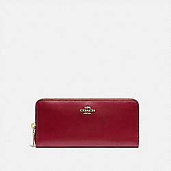 COACH 73738 - SLIM ACCORDION ZIP WALLET GD/DEEP RED