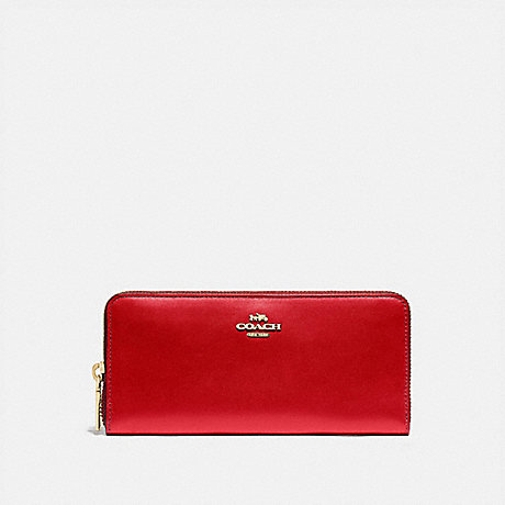 COACH BOXED SLIM ACCORDION ZIP WALLET - GD/ELECTRIC RED - 73738B