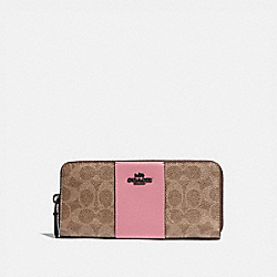 SLIM ACCORDION ZIP WALLET IN COLORBLOCK SIGNATURE CANVAS - 73739 - V5/TAN TRUE PINK