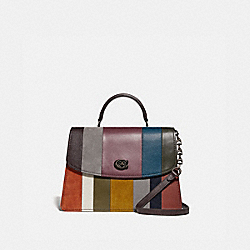COACH 73823 - PARKER TOP HANDLE 32 WITH PATCHWORK STRIPES OXBLOOD MULTI/PEWTER