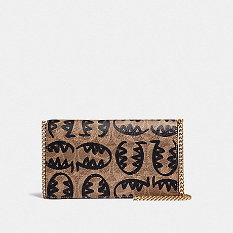 COACH 73825 CALLIE FOLDOVER CHAIN CLUTCH IN SIGNATURE CANVAS WITH REXY BY GUANG YU B4/TAN-RUST