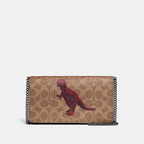 COACH 73827 CALLIE FOLDOVER CHAIN CLUTCH IN SIGNATURE CANVAS WITH REXY BY SUI JIANGUO V5/TAN-BLACK