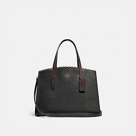 COACH 73845 CHARLIE CARRYALL WITH SCALLOP RIVETS BLACK-MULTI/BRASS