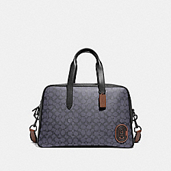 COACH 73854 - METROPOLITAN SOFT CARRYALL IN SIGNATURE CANVAS WITH COACH PATCH CHARCOAL/BLACK COPPER FINISH