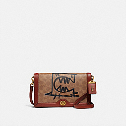 COACH 73941 - RILEY IN SIGNATURE CANVAS WITH REXY BY GUANG YU B4/TAN RUST
