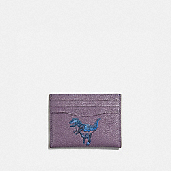 COACH 73949 - CARD CASE WITH REXY BY ZHU JINGYI DUSTY LAVENDER/PEWTER