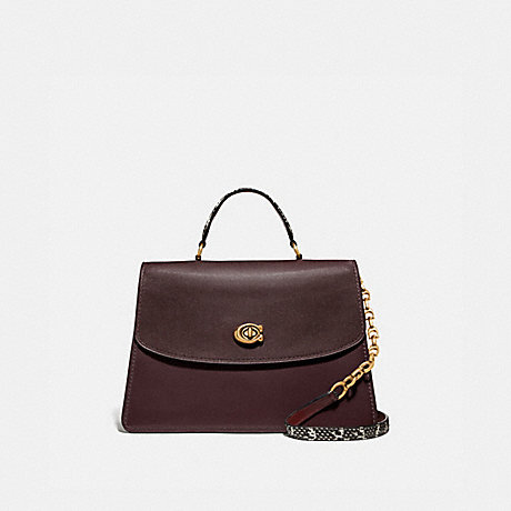 COACH 73969 PARKER TOP HANDLE 32 IN COLORBLOCK WITH SNAKESKIN DETAIL OXBLOOD-MULTI/BRASS