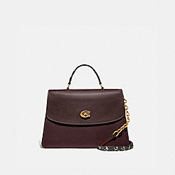 COACH 73969 - PARKER TOP HANDLE 32 IN COLORBLOCK WITH SNAKESKIN DETAIL OXBLOOD MULTI/BRASS