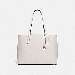 COACH 74104 - CENTRAL TOTE WITH SIGNATURE CANVAS BLOCKING B4/TAN CHALK