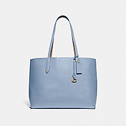 COACH 74104 Central Tote With Signature Canvas Blocking B4/TAN MIST