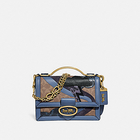 COACH 74148 RILEY TOP HANDLE 22 IN SIGNATURE CANVAS WITH LIGHTNING CLOUD APPLIQUE AND SNAKESKIN DETAIL TAN/WASHED-CHAMBRAY/BRASS