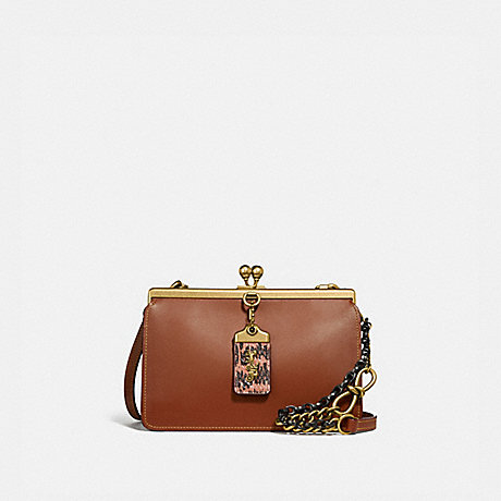 COACH 74873 DOUBLE FRAME BAG 19 WITH SNAKESKIN DETAIL BRASS/1941-SADDLE