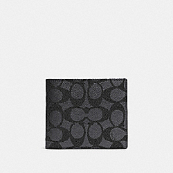 COACH 74935 - COMPACT ID WALLET IN SIGNATURE CANVAS CHARCOAL