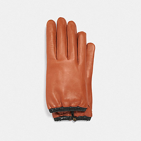 COACH 75535 SCULPTED SIGNATURE GATHERED LEATHER TECH GLOVES SUNSET