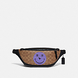 COACH 75587 Rivington Belt Bag In Signature Canvas With Rexy By Yeti Out KHAKI/BLACK COPPER
