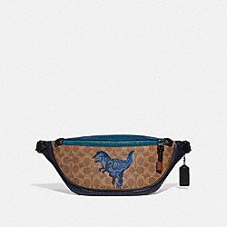 COACH 75591 Rivington Belt Bag In Signature Canvas With Rexy By Zhu Jingyi KHAKI/BLACK COPPER